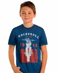Rock & Roll Cowboy Boy's Short Sleeve Motorcycle Logo Tee Shirt - Indigo