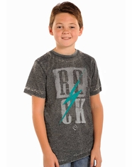 Rock & Roll Cowboy Boy's Short Sleeve Rock Logo Tee Shirt (Closeout)
