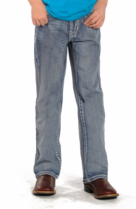 Rock & Roll Cowboy Boys BB Gun Regular Fit Boot Cut Jeans - Light Wash (Closeout)