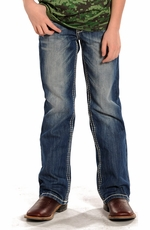 Rock & Roll Cowboy Boys Regular Fit Boot Cut Jeans - Medium Vintage Wash