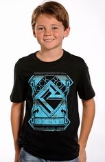 Rock & Roll Cowboy Boys Short Sleeve Logo Tee Shirt - Black (Closeout)