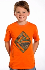 Rock & Roll Cowboy Boys Short Sleeve Logo Tee Shirt - Orange