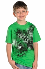 Rock & Roll Cowboy Boys Short Sleeve Tee Shirt - Green (Closeout)