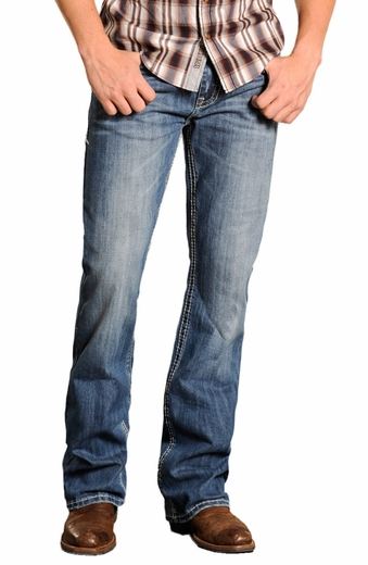 Rock & Roll Cowboy Double Barrel Jeans with Abstract Pockets - Medium Vintage Wash