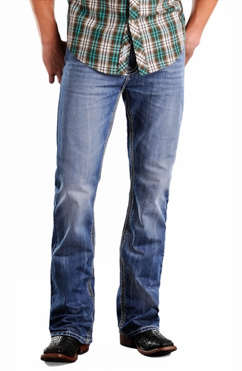 Rock & Roll Cowboy Double Barrel Relaxed Fit Boot Cut Jeans - Light Wash