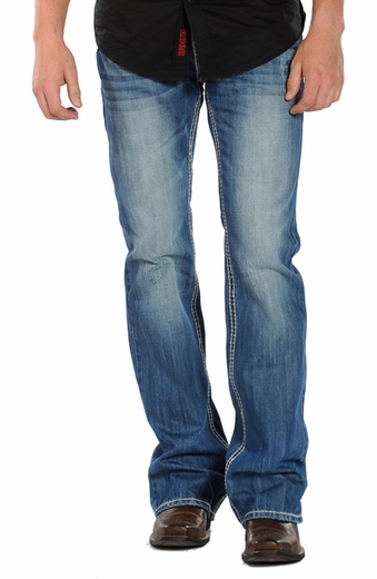 Rock & Roll Cowboy Men's Pistol Slim Boot Cut Jeans - Medium Wash (Closeout)