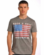 Rock & Roll Cowboy License Plate Flag Tee Shirt - Grey (Closeout)