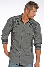 Rock & Roll Cowboy Men's Long Sleeve Embroidered Solid Snap Western Shirt - Grey