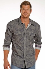 Rock & Roll Cowboy Men's Long Sleeve Paisley Snap Western Shirt - Grey (Closeout)