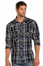 Rock & Roll Cowboy Long Sleeve Plaid Snap Western Shirt - Blue