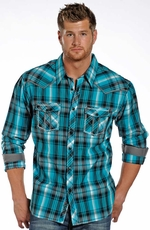 Rock & Roll Cowboy Men's Long Sleeve Plaid Snap Western Shirt - Blue