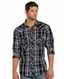 Rock & Roll Cowboy Long Sleeve Plaid Snap Western Shirt - Blue (Closeout)