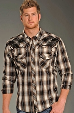 Rock & Roll Cowboy Long Sleeve Plaid Snap Western Shirt - Brown