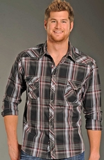 Rock & Roll Cowboy Long Sleeve Plaid Snap Western Shirt - Charcoal