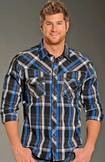 Rock & Roll Cowboy Long Sleeve Plaid Snap Western Shirt with Piping - Royal