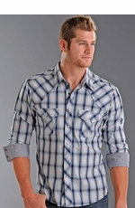 Rock & Roll Cowboy Long Sleeve Plaid Western Shirt - Light Blue/Navy