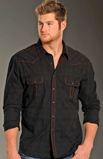 Rock & Roll Cowboy Long Sleeve Saddlestitch Plaid Snap Wesern Shirt - Black