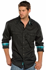 Rock & Roll Cowboy Long Sleeve Solid Snap Western Shirt - Black