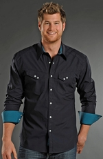 Rock & Roll Cowboy Long Sleeve Solid Snap Western Shirt - Navy/Teal (Closeout)