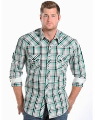 Rock & Roll Cowboy Men's Blanket Stitched Long Sleeve Plaid Snap Shirt - Aqua