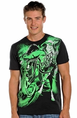 Rock & Roll Cowboy Men's Bronc Rider Tee Shirt - Black/Green (Closeout)