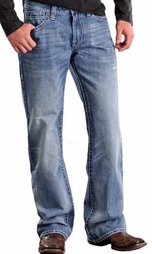 Rock & Roll Cowboy Men's Cannon Straight Leg Western Jeans - Light Wash (Closeout)