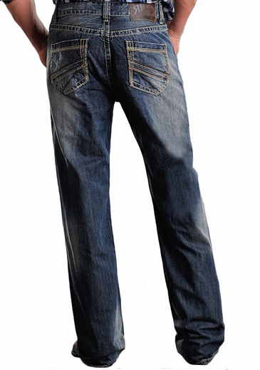 Rock & Roll Cowboy Men's Cannon Straight Leg Western Jeans with Abstract Embroidery (Closeout)