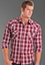 Rock & Roll Cowboy Men's Dobby Plaid Western Snap Shirt with Heavy Stitching - Red (Closeout)