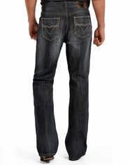 Rock & Roll Cowboy Men's Double Barrel Low Rise Relaxed Fit Boot Cut Jeans - Dark Vintage