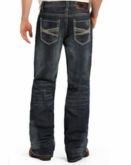 Rock & Roll Cowboy Men's Double Barrel Low Rise Relaxed Fit Boot Cut Jeans- Dark Vintage