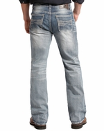 Rock & Roll Cowboy Men's Double Barrel Relaxed Fit Boot Cut Jeans - Light Vintage Wash (Closeout)