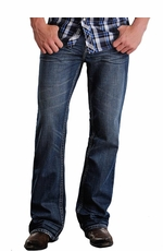 "Rock & Roll Cowboy Men's Double Barrel Relaxed Fit Boot Cut Jeans with Double ""V"" Embroidery (Closeout)"