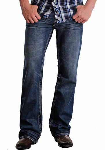Rock & Roll Cowboy Men's Double Barrel Relaxed Fit Boot Cut Jeans with Double