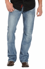 Rock & Roll Cowboy Men's Double Barrel Relaxed Fit - Light Wash (Closeout)