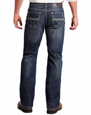 Rock & Roll Cowboy Men's Double Barrel Relaxed Fit Straight Leg Jeans - Dark Vintage