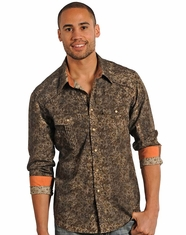 Rock & Roll Cowboy Men's Floral Print Snap Shirt - Brown