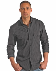 Rock & Roll Cowboy Men's Long Sleeve Button Down Print Shirt-Black