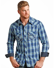 Rock & Roll Cowboy Men's Long Sleeve Crinkle Wash Plaid Snap Shirt - Blue