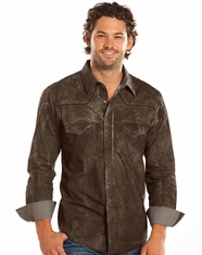 Rock & Roll Cowboy Men's Long Sleeve Dirt Wash Paisley Print Snap Shirt - Brown