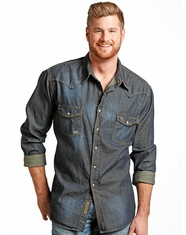 Rock & Roll Cowboy Men's Long Sleeve Distressed Denim Shirt