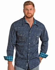 Rock & Roll Cowboy Men's Long Sleeve Distressed Print Snap Shirt - Blue