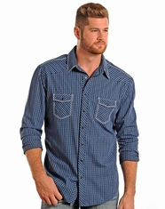 Rock & Roll Cowboy Men's Long Sleeve Dobby Check Snap Shirt - Blue