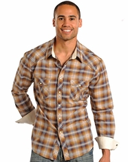 Rock & Roll Cowboy Men's Long Sleeve Dobby Plaid Snap Shirt - Brown