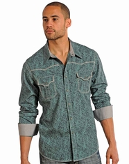 Rock & Roll Cowboy Men's Long Sleeve Enzyme Wash Print Snap Shirt