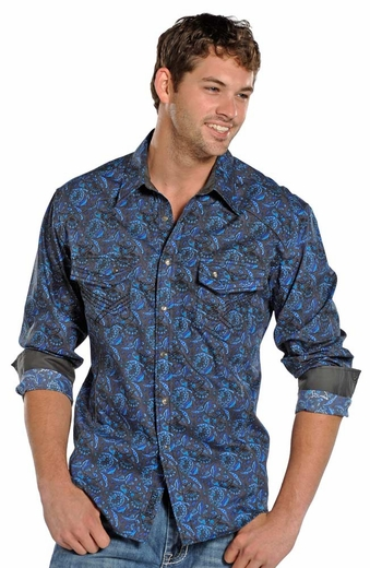 Rock & Roll Cowboy Men's Long Sleeve Paisley Print Shirt - Blue (Closeout)