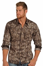 Rock & Roll Cowboy Men's Long Sleeve Paisley Print Shirt - Brown