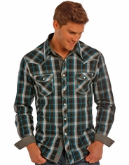 Rock & Roll Cowboy Men's Long Sleeve Plaid Snap Shirt - Black