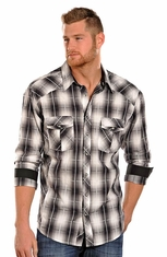 Rock & Roll Cowboy Men's Long Sleeve Plaid Snap Shirt - Black (Closeout)