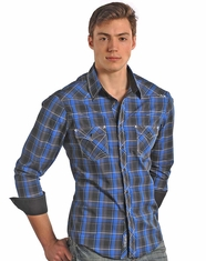 Rock & Roll Cowboy Men's Long Sleeve Plaid Snap Shirt-Blue (Closeout)
