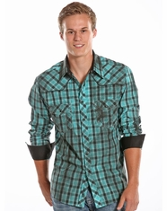 Rock & Roll Cowboy Men's Long Sleeve Plaid Snap Shirt - Bright Turquoise (Closeout)